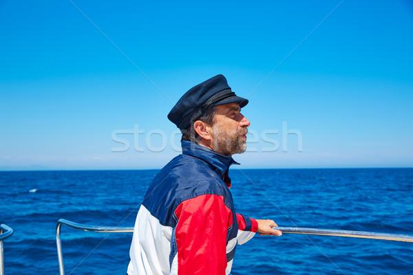 Stock photo: Beard sailor cap man sailing sea ocean in a boat