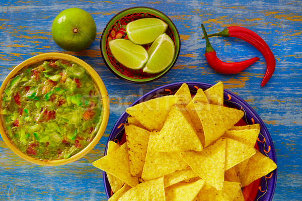 Mexican food nachos with guacamole chili peppers Stock photo © lunamarina