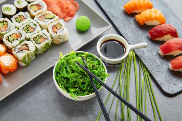 суши маки соевый соус wasabi Калифорния катиться Сток-фото © lunamarina