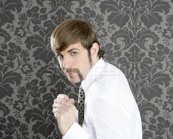 агрессивный смешные ретро усы бизнесмен Сток-фото © lunamarina