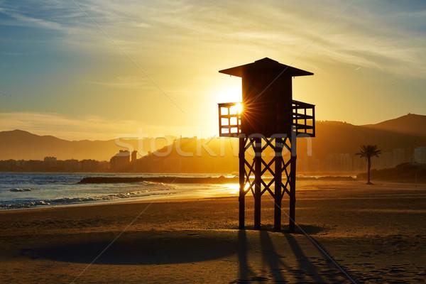 Playa puesta de sol Valencia mediterráneo España agua Foto stock © lunamarina