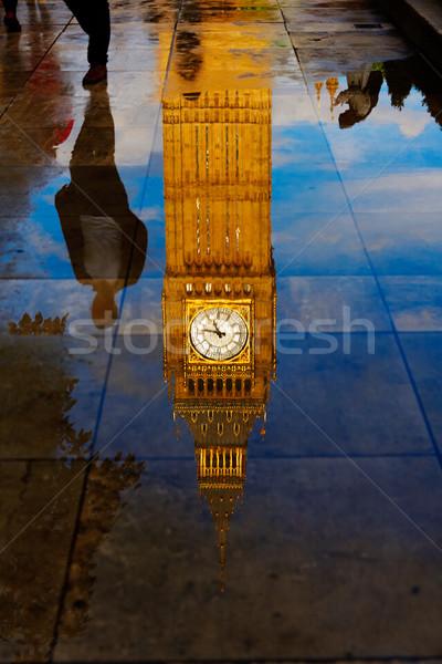 ビッグベン クロック 塔 水たまり 反射 ロンドン ストックフォト © lunamarina