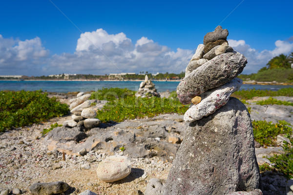 Akumal bay Cairn stone stacked Riviera Maya Stock photo © lunamarina