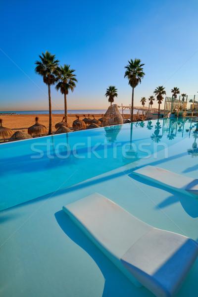 Stok fotoğraf: Başvurmak · havuz · plaj · palmiye · ağaçları · cennet