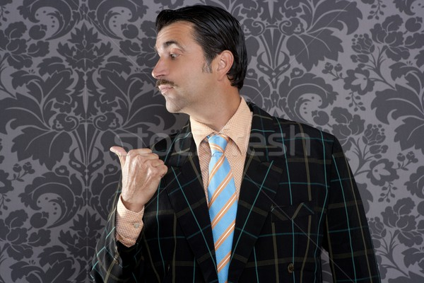 nerd businessman portrait pointing thumb finger Stock photo © lunamarina