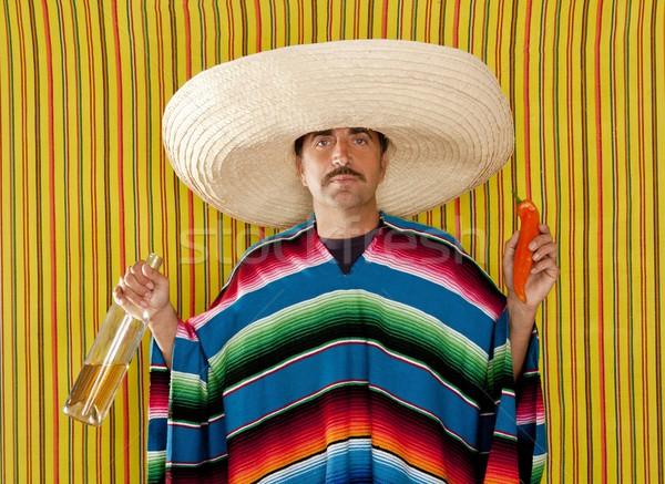 Stock fotó: Mexikói · bajusz · chili · részeg · tequila · szombréró