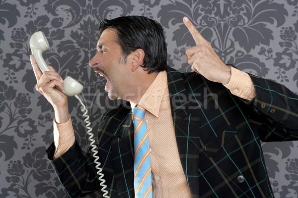 Stok fotoğraf: öfkeli · inek · öğrenci · işadamı · Retro · telefon · çağrı
