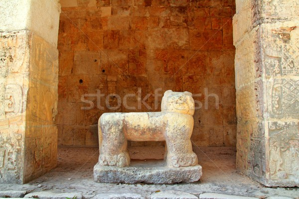 Chichen Itza Jaguar Mayan stone figure Mexico Stock photo © lunamarina