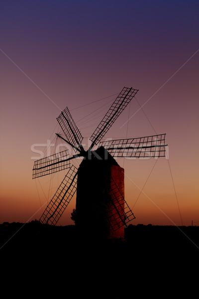 balearic islands windmill wind mill sunset in Formentera Stock photo © lunamarina