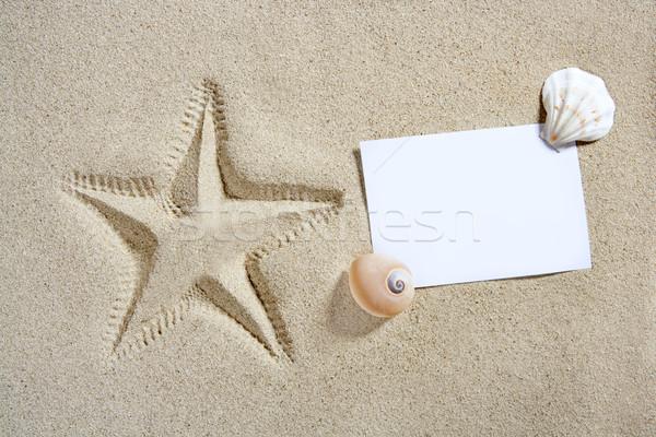 blank paper beach sand starfish pint shells summer Stock photo © lunamarina
