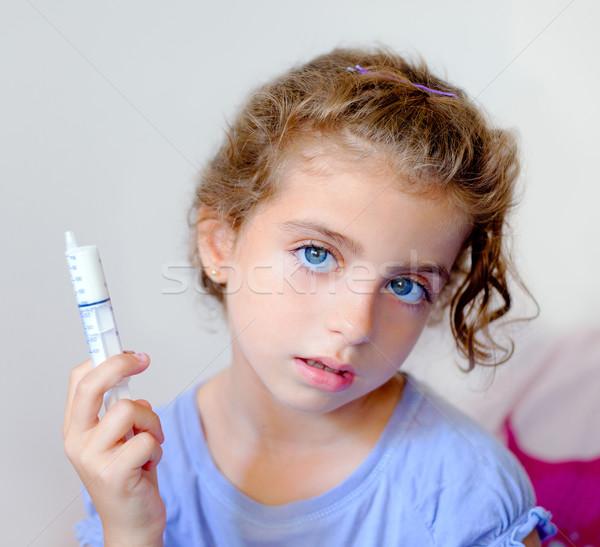 幸せ 子供 子供 少女 シリンジ 抗生物質 ストックフォト © lunamarina