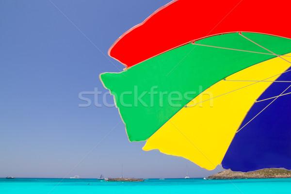 Colorful sunroof in Formentera tropical beach Stock photo © lunamarina