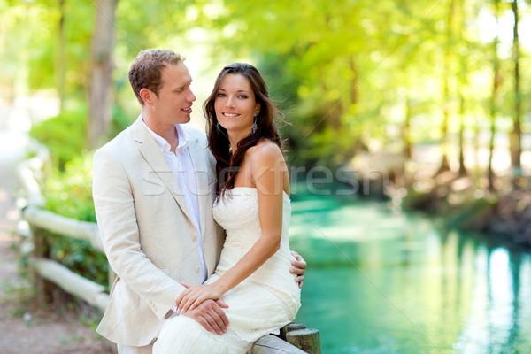 Stock photo: couple of lovers in love in park river hug