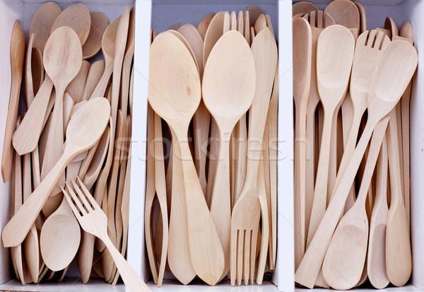 box with wooden cutlery in beech wood Stock photo © lunamarina