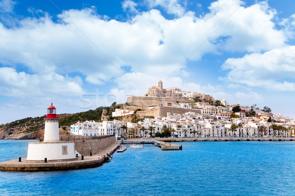 Eivissa ibiza town from red lighthouse red beacon Stock photo © lunamarina