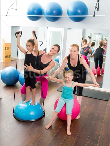 Aerobics pilates women kid girls personal trainer Stock photo © lunamarina