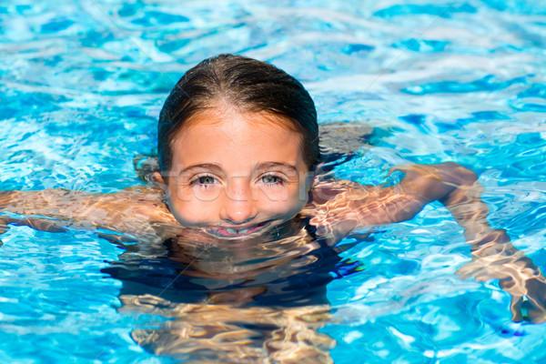 Stock fotó: Kék · szemek · gyerek · lány · medence · arc · víztükör