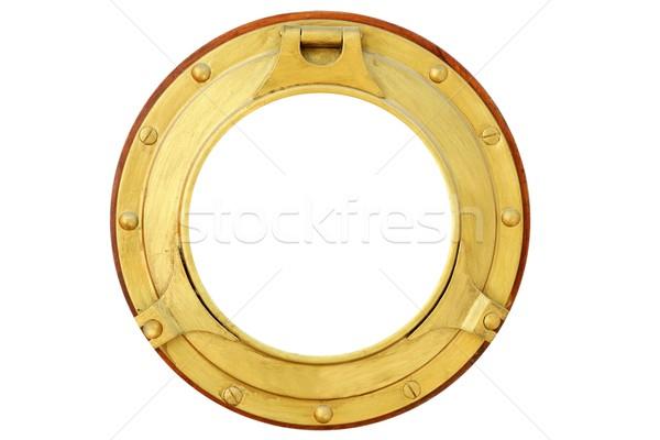 Dourado latão barco janela isolado branco Foto stock © lunamarina