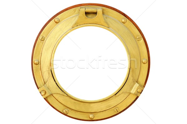 Round golden brass boat window isolated Stock photo © lunamarina