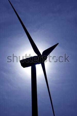 aerogenerator windmill backlight blue sky Stock photo © lunamarina