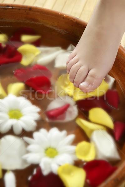 Aromatherapy, flowers feet bath, rose petal Stock photo © lunamarina