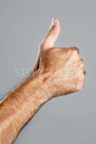 Poilue homme main gris heureux Photo stock © lunamarina