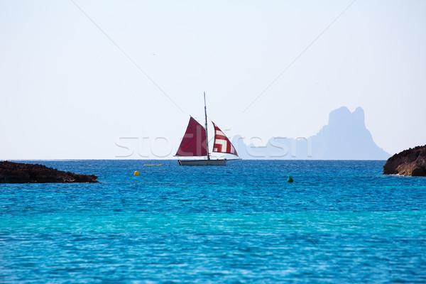 Formentera from Illetes view es Vedra Ibiza and sailboat Stock photo © lunamarina