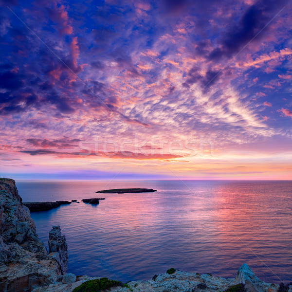 Menorca sunset in Cap de Caballeria cape at Balearic Stock photo © lunamarina