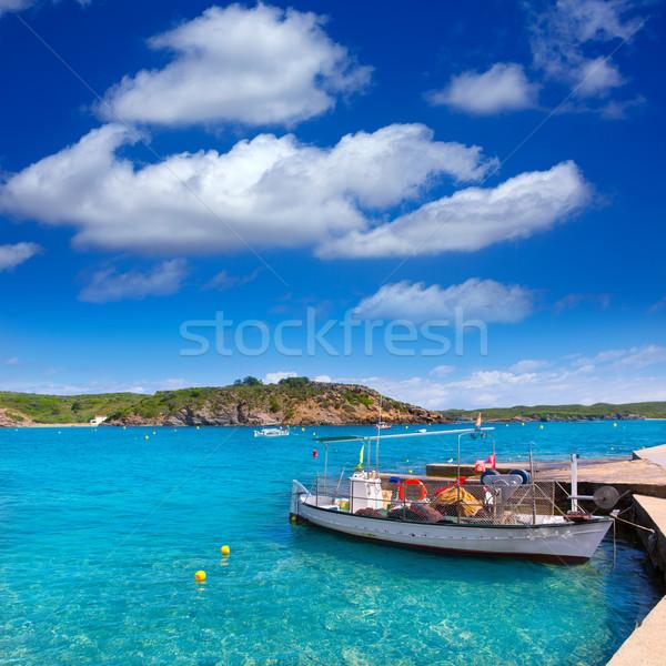 Menorca Es Grau clean port with llaut boats in Balearics Stock photo © lunamarina