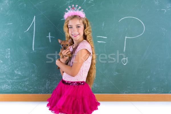 Blond prinses schoolmeisje huisdier puppy Stockfoto © lunamarina