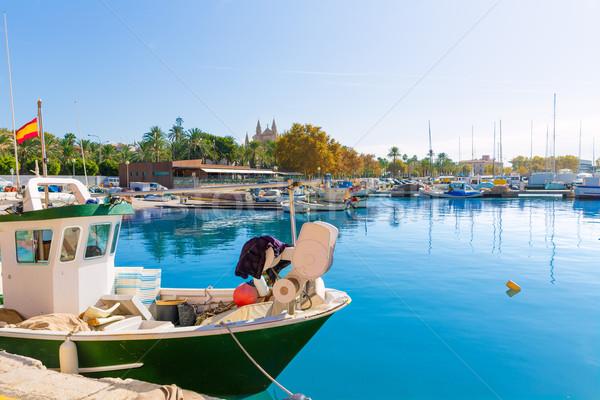 Majorque port marina cathédrale église printemps Photo stock © lunamarina