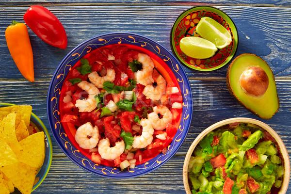 エビ ナチョス メキシコ料理 レストラン ディナー プレート ストックフォト © lunamarina