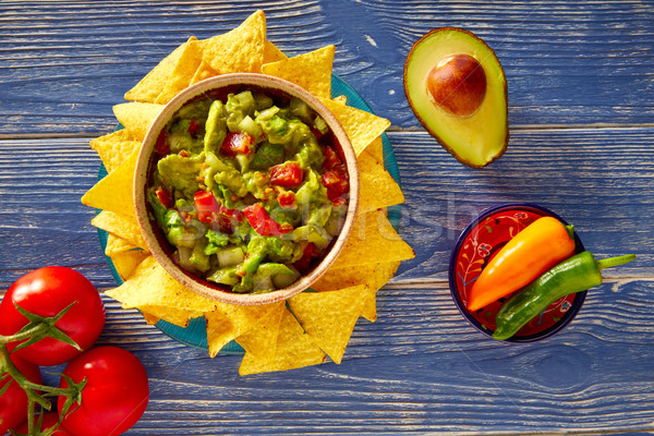 Guacamole with avocado tomatoes and nachos Stock photo © lunamarina
