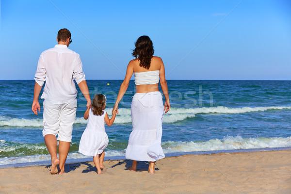 Boldog család tengerparti homok sétál hátsó hátulnézet nyár Stock fotó © lunamarina