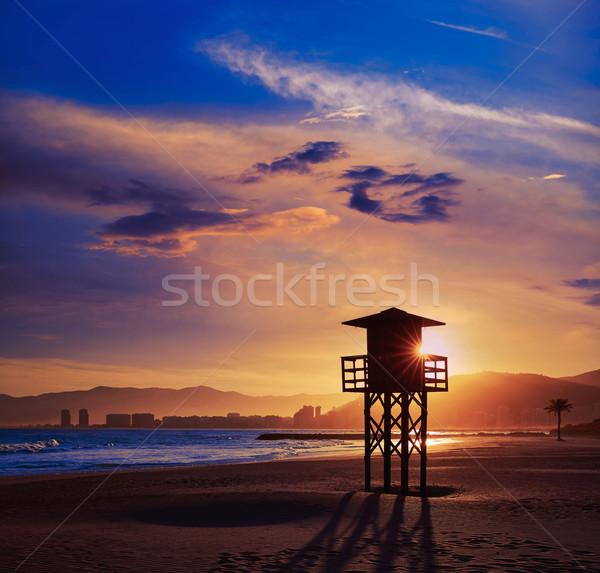 Strand zonsondergang Valencia middellandse zee Spanje water Stockfoto © lunamarina