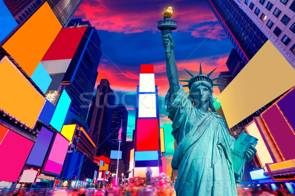 Liberty Statue and Times Square New York Stock photo © lunamarina