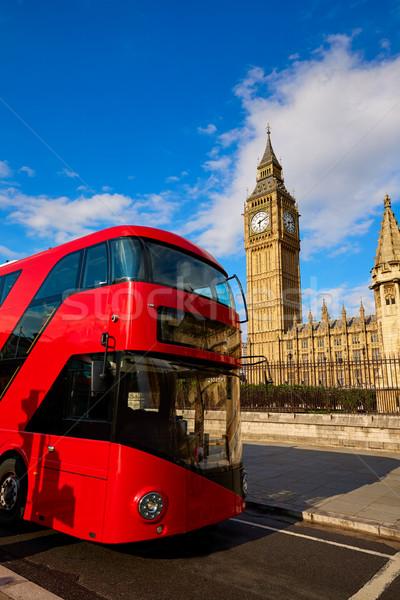Big Ben reloj torre Londres autobús Inglaterra Foto stock © lunamarina