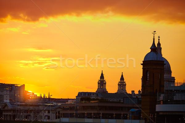 London sunset at Thames with St Paul Pauls Stock photo © lunamarina