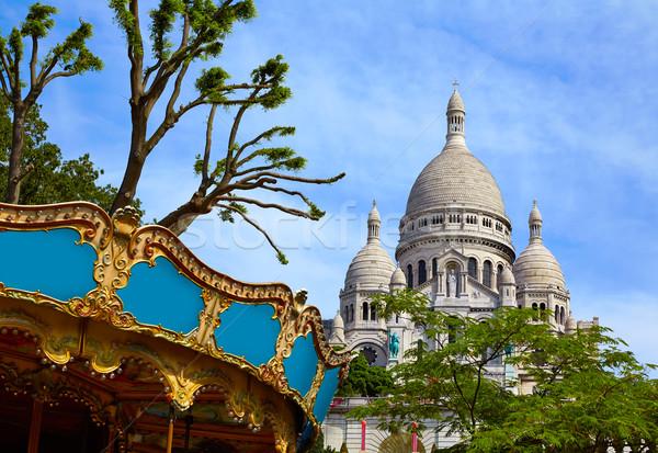 Montmartre Parijs Frankrijk stad Blauw stedelijke Stockfoto © lunamarina