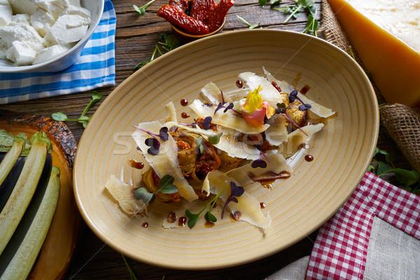 Patlıcan peynir İtalyan gıda ahşap masa akşam yemeği Stok fotoğraf © lunamarina
