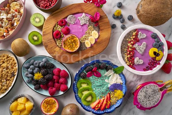 Tigela frutas alimentação saudável saúde Foto stock © lunamarina