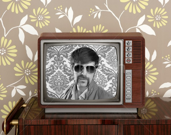 nerd retro 60s vintage wooden tv presenter Stock photo © lunamarina
