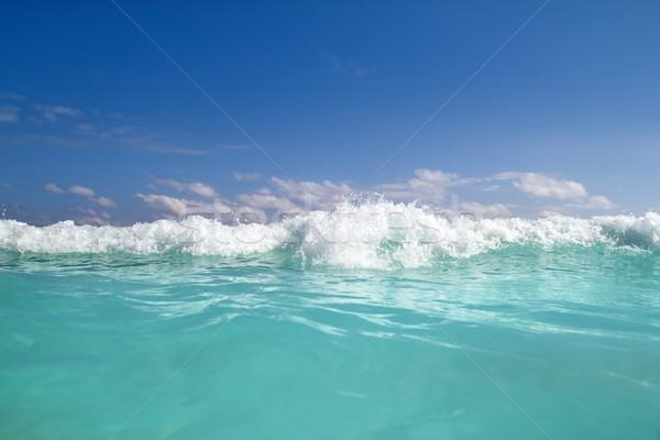 blue turquoise wave caribbean sea water foam Stock photo © lunamarina
