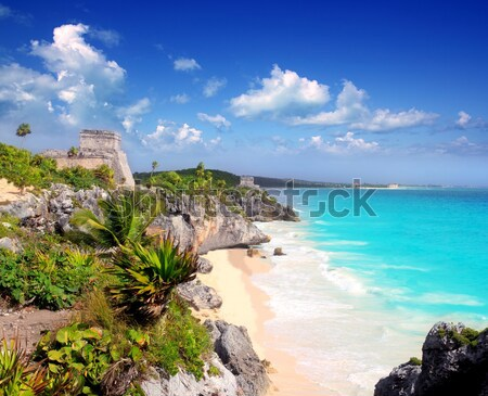 ancient Mayan ruins Tulum Caribbean turquoise Stock photo © lunamarina