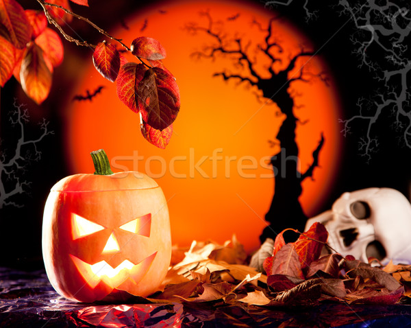 Halloween orange pumpkin on autumn leaves Stock photo © lunamarina