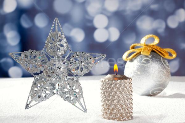 Silber Sterne Spielerei Kerze Schnee Stock foto © lunamarina