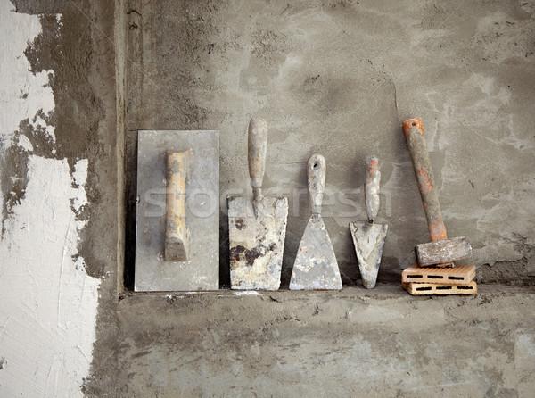 Zdjęcia stock: Budowy · cementu · używany · narzędzia · grunge