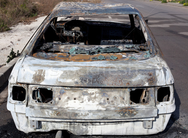Burned out car in street Stock photo © lunamarina