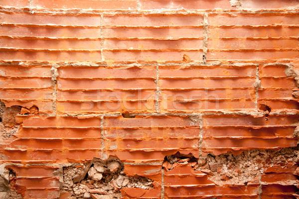 Gebroken bakstenen muur restauratie bouw huis Stockfoto © lunamarina