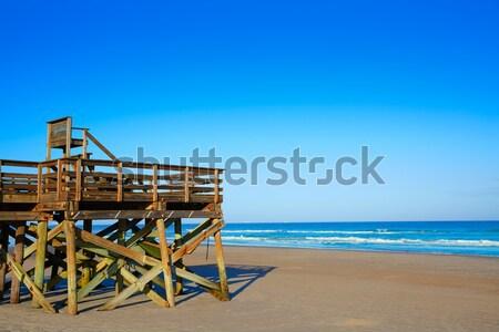 ビーチ ライフガード 家 白砂 ターコイズ のどかな ストックフォト © lunamarina